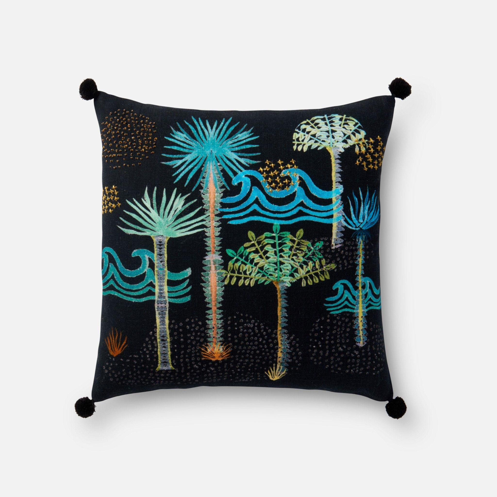 Justina Blakeney Palms Pillow, Black