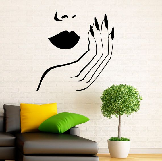 Manicure wall decal vinyl stickers girl hands nails for Vinilos para paredes exteriores