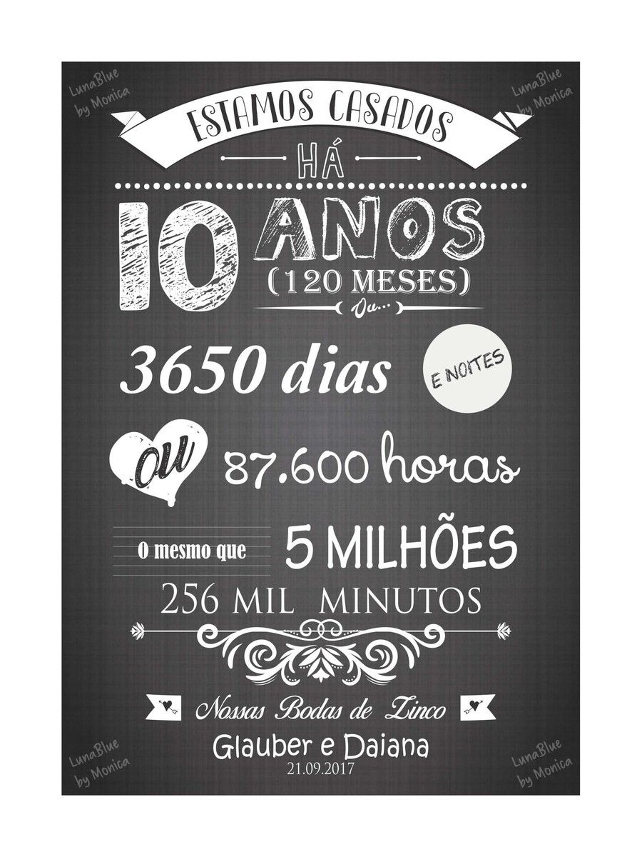 Chalkboard Bodas De Zinco Arte Digital Com Imagens Bodas De
