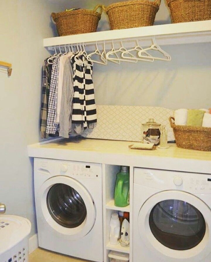 Love The Built In Shelves Between The Washer And Dryer