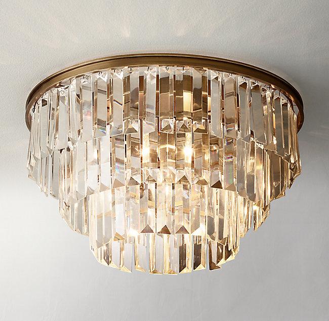 Alaine Crystal Flushmount Antiqued Brass Antique Brass Frame Ceiling Lights Crystal Chandelier Bedroom