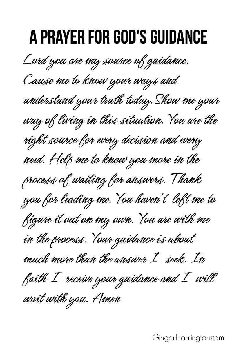 A Printable Prayer For Gods Guidance Words I Like Gods Guidance
