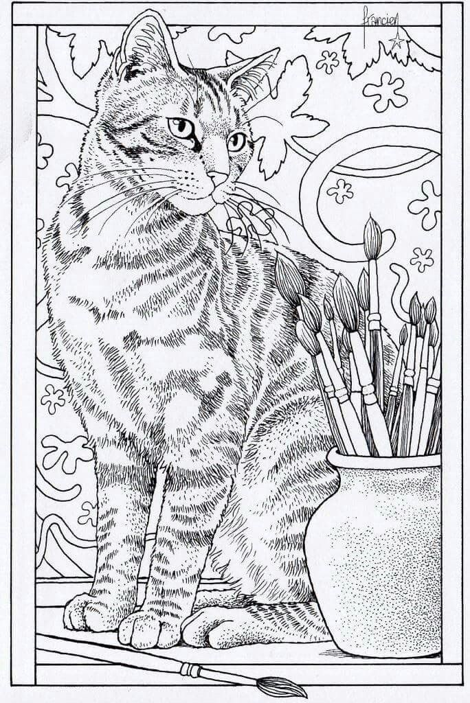 Cat Coloring Page Animal Coloring Pages Adult Coloring Book