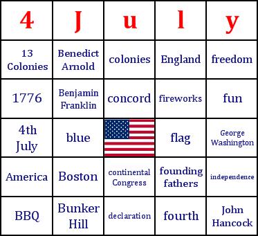 Th Of July Bingo Card  Bingo Card Printables