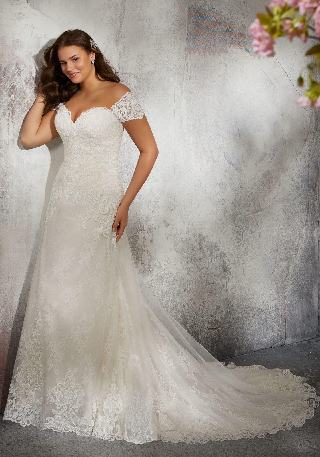 Laverna wedding dress timeless chantilly lace bridal gown accented
