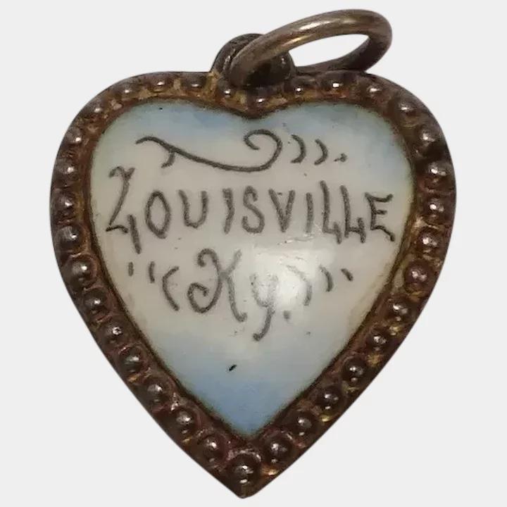 Sterling Enameled Louisville Kentucky Heart Charm In 2020 Louisville Kentucky Heart Charm Sterling