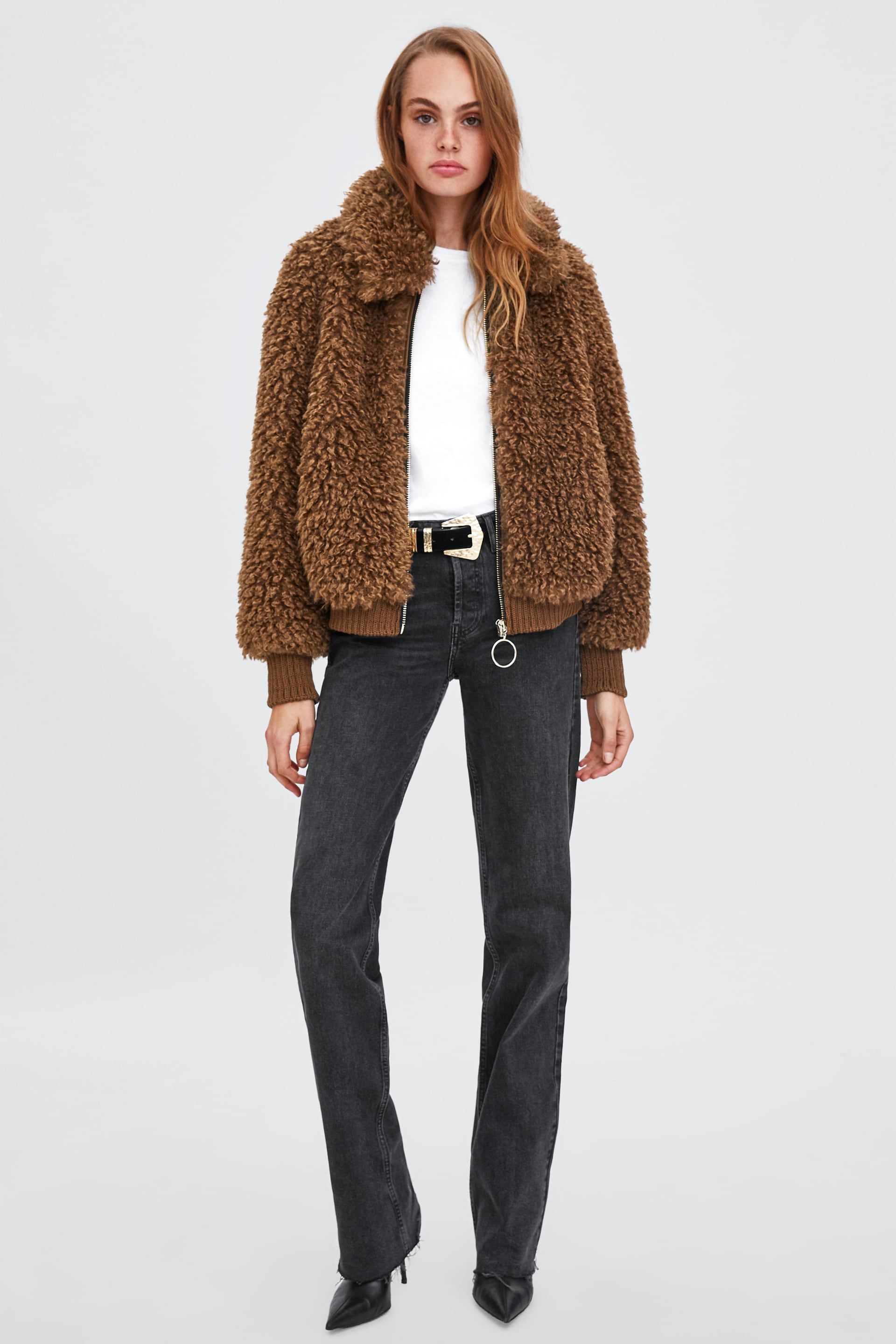 2ae9e06fd Faux shearling bomber in 2019 | want | Faux fur jacket, Fur bomber ...