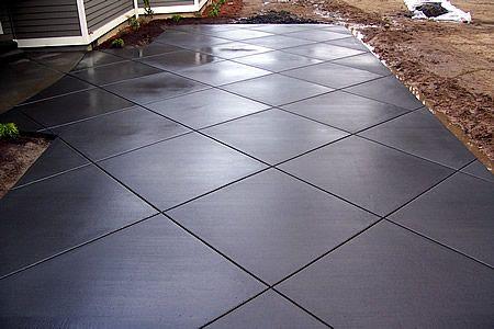 Black Stamped Concrete For The Front Porch Concrete Patio