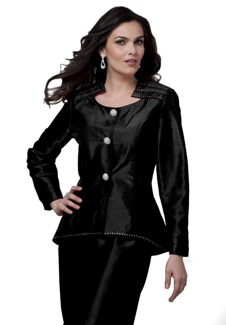 b5a8755ccfd89 Roamans Women s Plus Size Peplum Double Bottom Skirt Suit -- http   www