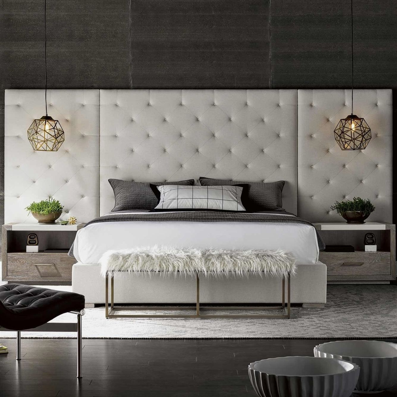 Modern brando fabric upholstered bed with side panels in quartz