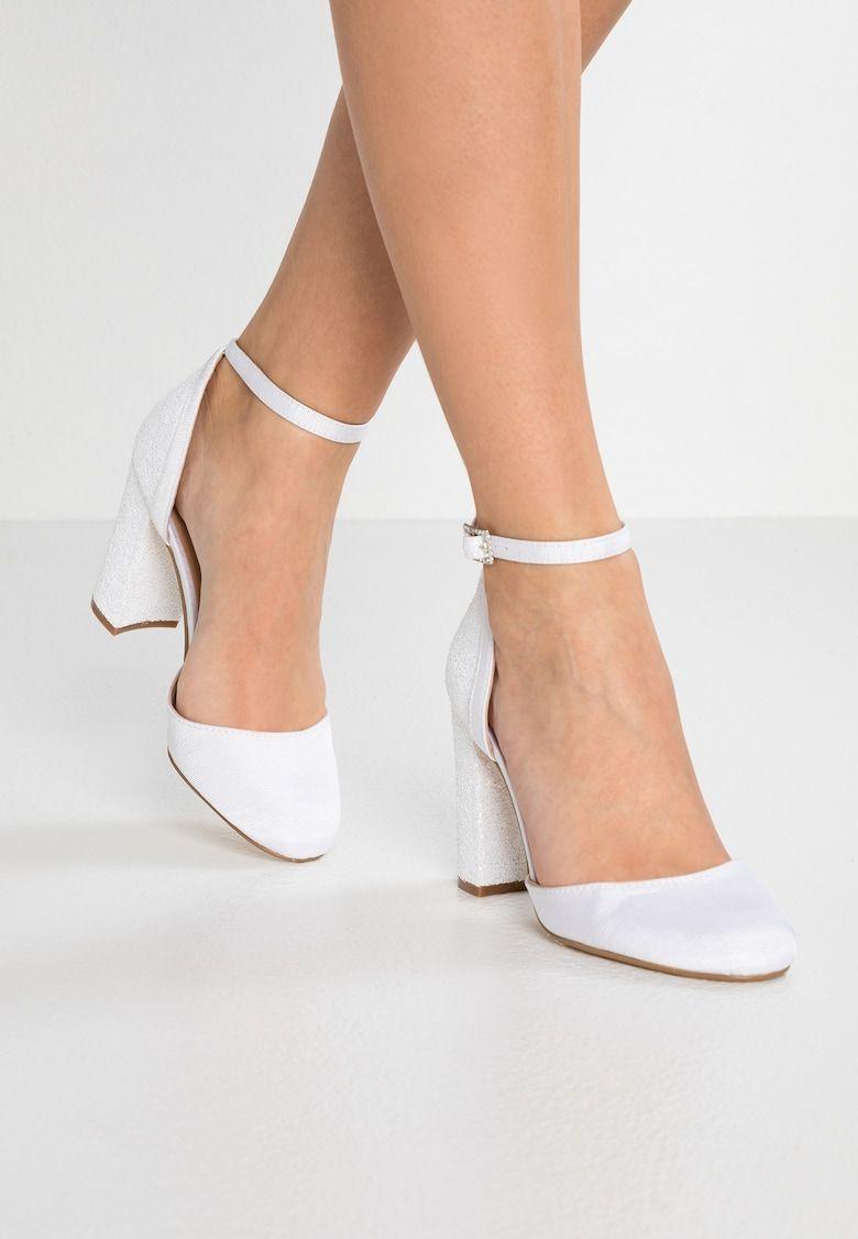 Dorothy Perkins Block Glitter Court High Heels White Zalando Co Uk Heels Block Heels Wedding Block Heels Pumps