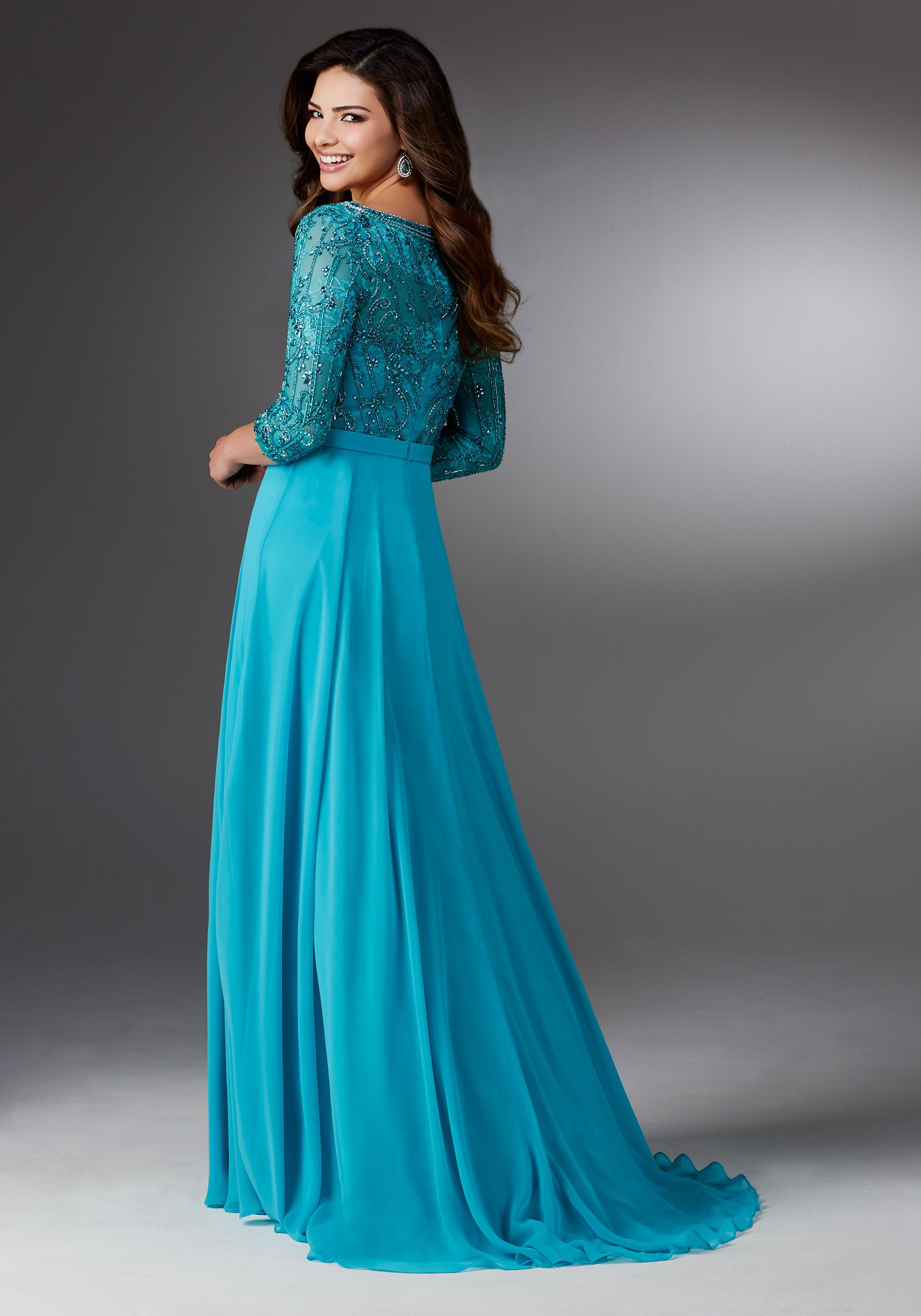 Chiffon A-line Mother of the Occasion Gown with V-neck Beaded Bodice ...
