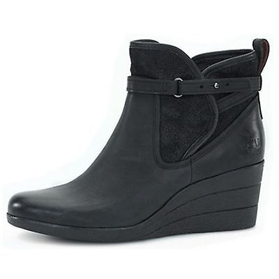 df919f78137 Ugg Emalie Womens 1008017-Blk Black Waterproof Leather Zip Wedge ...