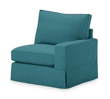 PB Comfort Square Arm Slipcovered Right Arm Chair, Box Edge Polyester Wrapped Cushions, Performance Everydayvelvet(TM) Bali