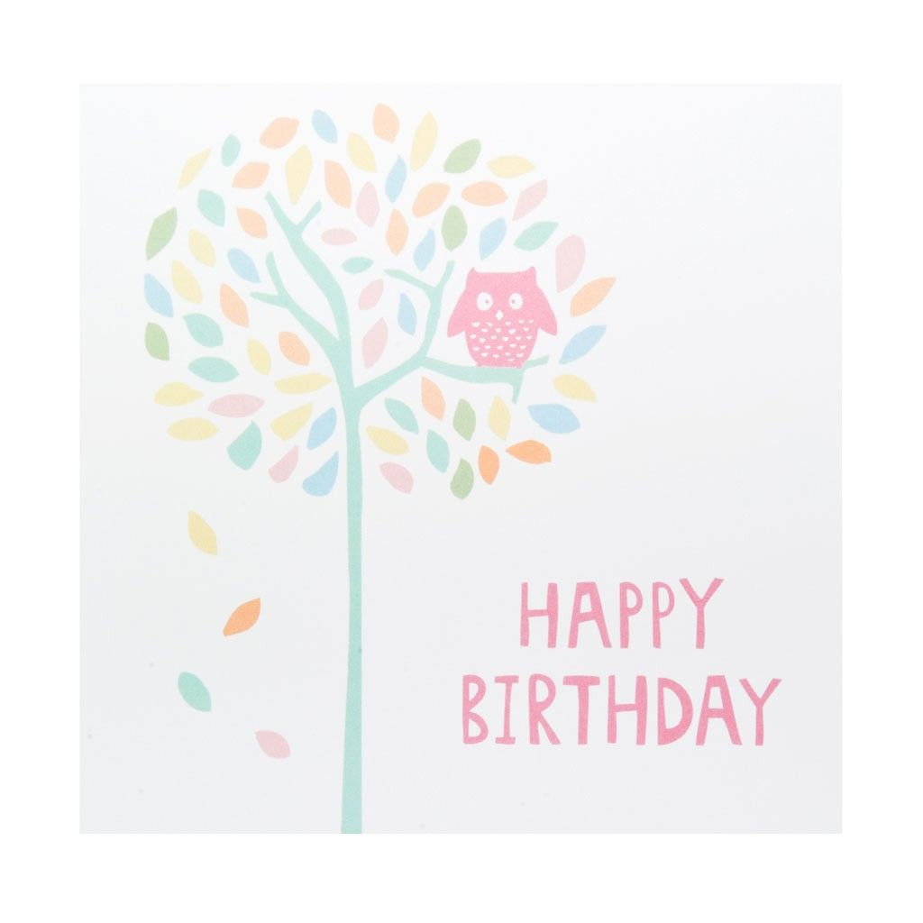 Greeting card happy birthday tree owl shop by events pinterest