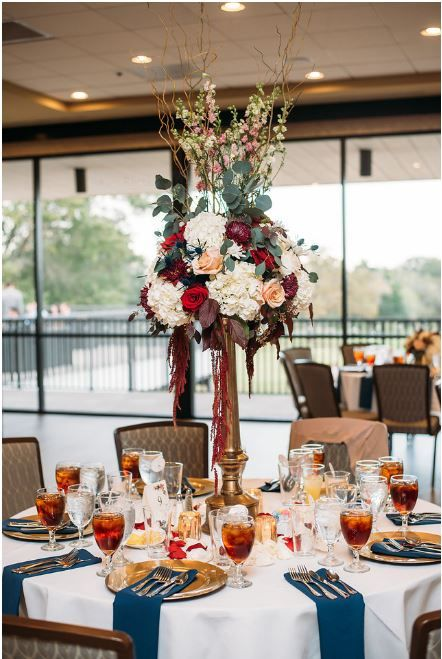 Ninfa S Wedding Centerpiece Hydrangea Mound Burgundy And Blush Marsala Hanging Amaranthus Navy Blue Gold Fall