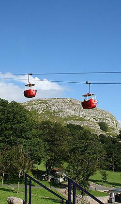 Llandudno aerial cable cars cross between the Happy Valley