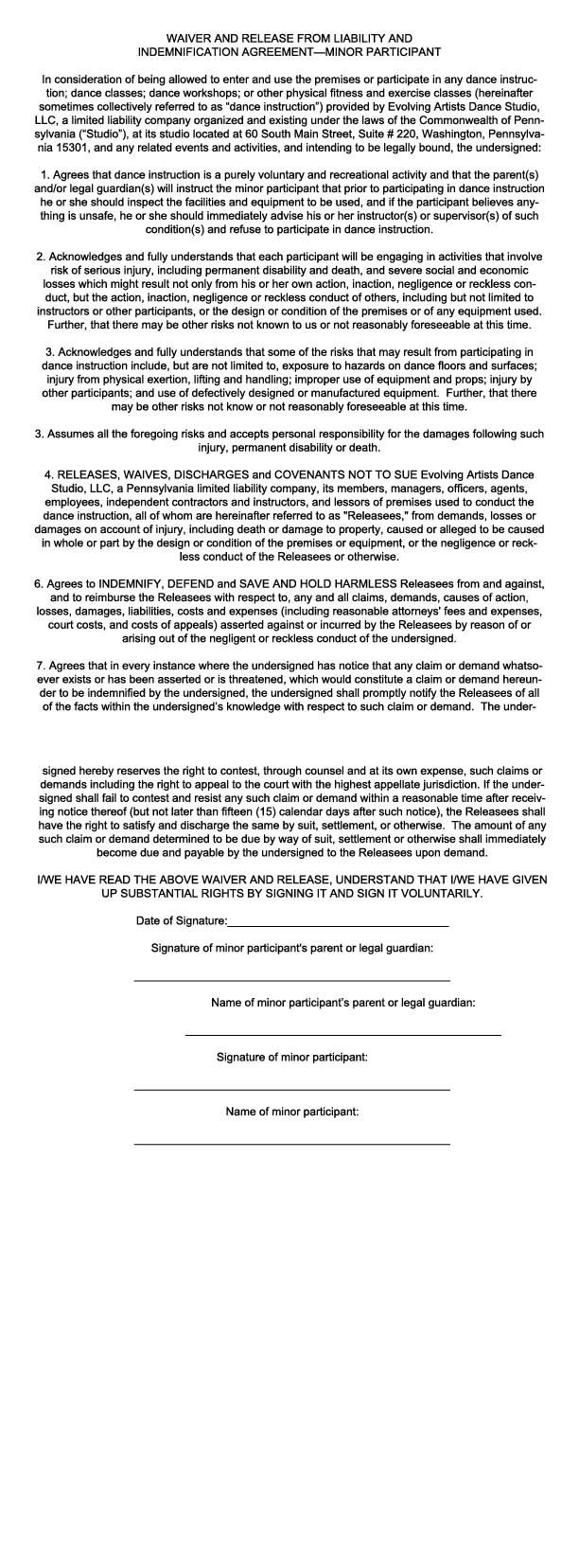 Waiver for minors