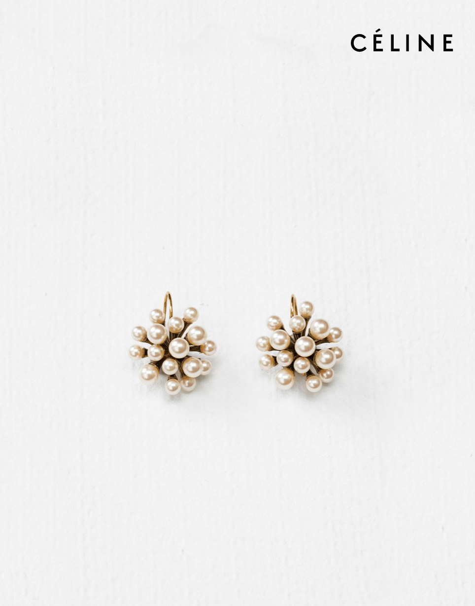 92b5e0ab5f4 Céline DOT MINI-PEARL SIMPLE EARRINGS IN GLASS PEARLS AND BRASS WITH GOLD  FINISHING