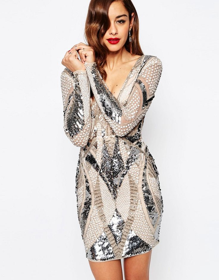 6a2a95ab91 ASOS+RED+CARPET+Embellished+Deep+Plunge+Mini+Bodycon+Dress