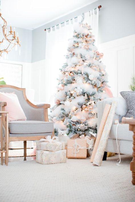 Blush And Gray Christmas Tree Decor Beautiful Rose Gold Tones