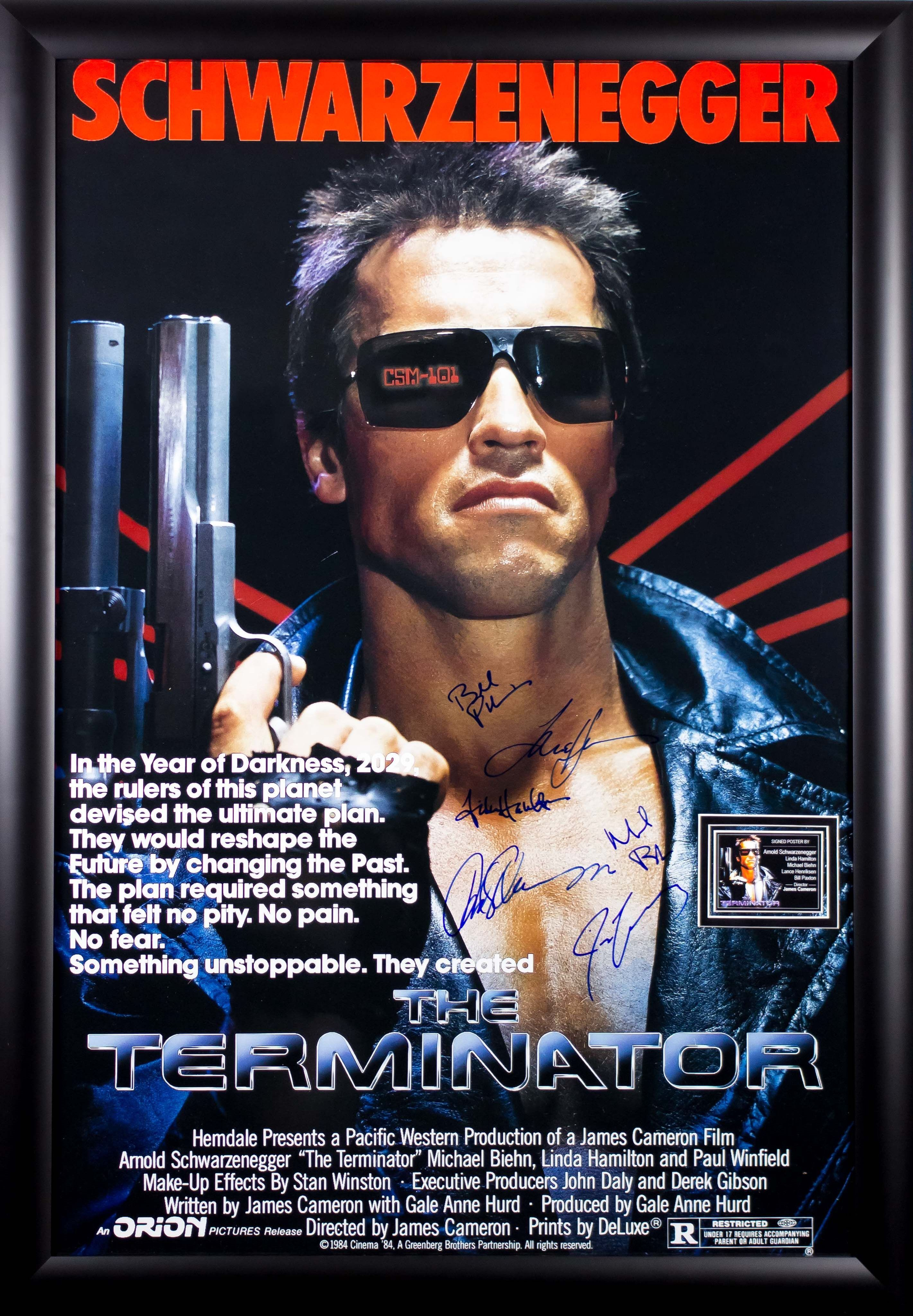The Terminator Cast Signed Movie Poster 27x41 in Wood