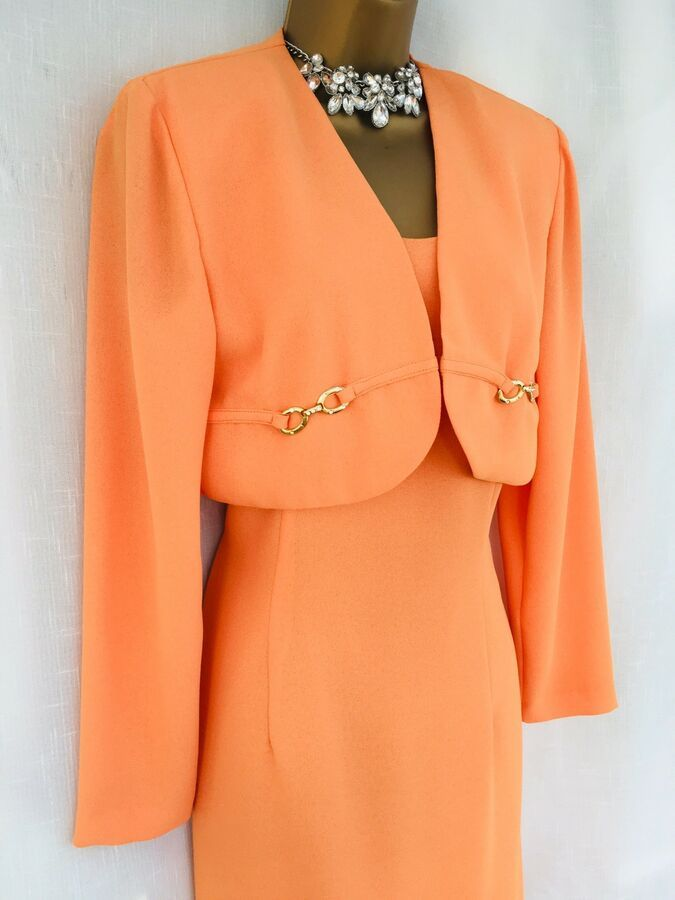 Ladies Brocade Bolero Peach Jacket With Black Skirt NEW Suit Size 10