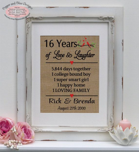 16th Wedding Anniversary Gifts 16 Years Married 16 Years Together