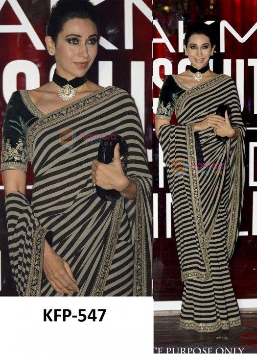 999a4de81f1 Karishma Kapoor Black   White Georgette Replica Saree