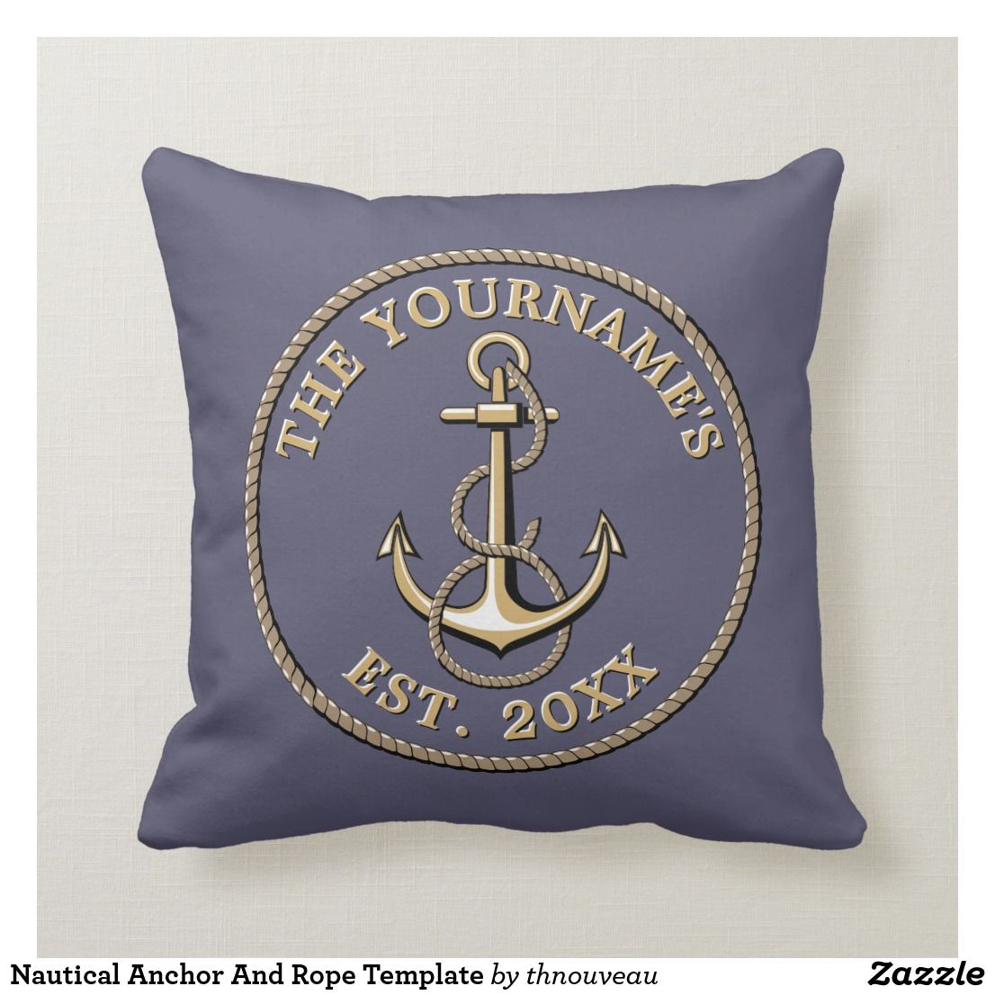 Nautical Anchor And Rope Template Throw Pillow Zazzle