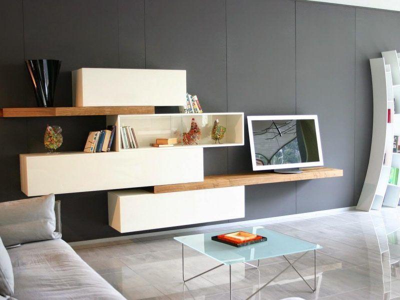 Mobile da soggiorno lago modello 36e8 con mensole legno for Scrivania soggiorno