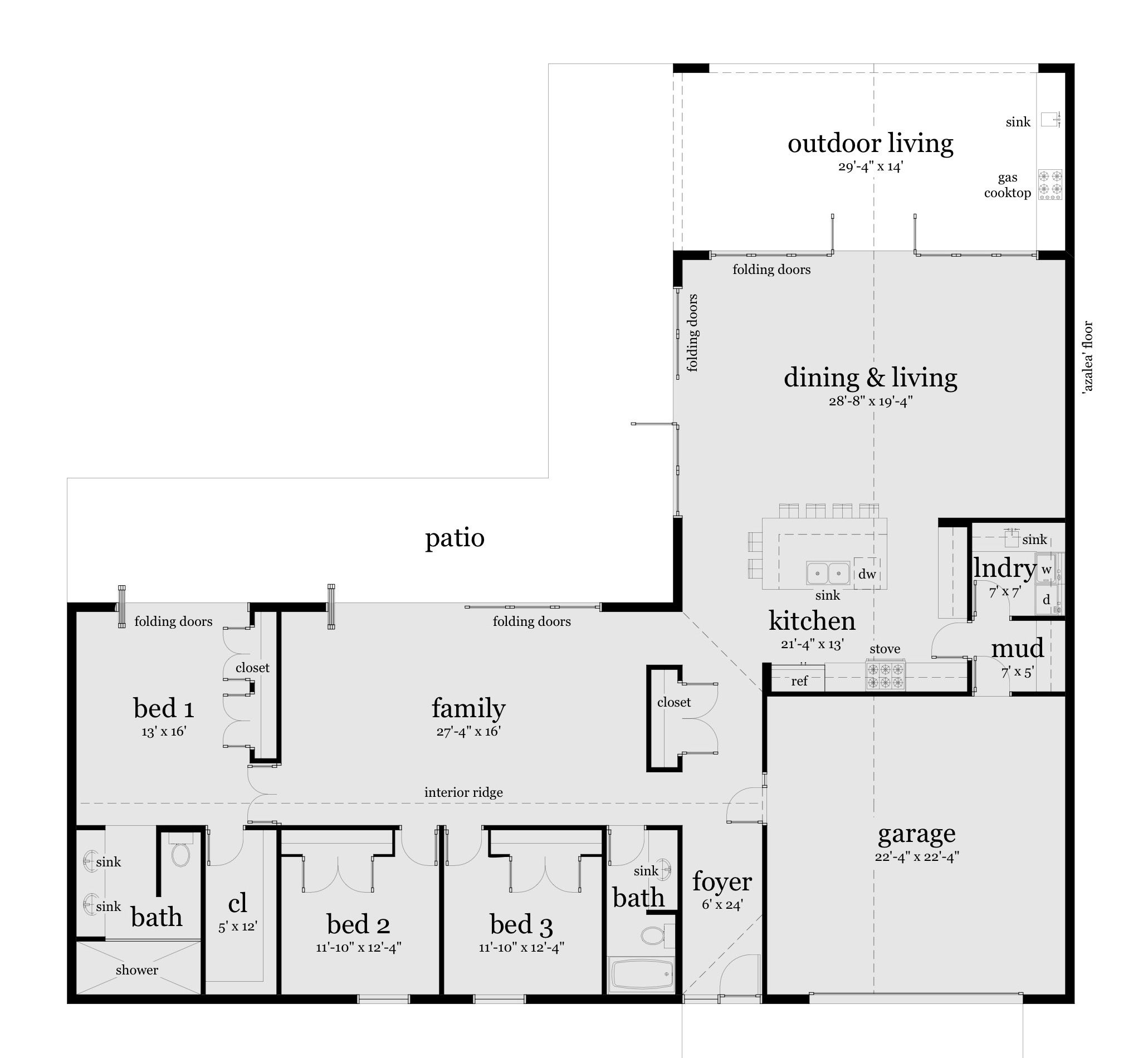 Azalea House Plan | Modern ranch, Concrete slab and Ranch