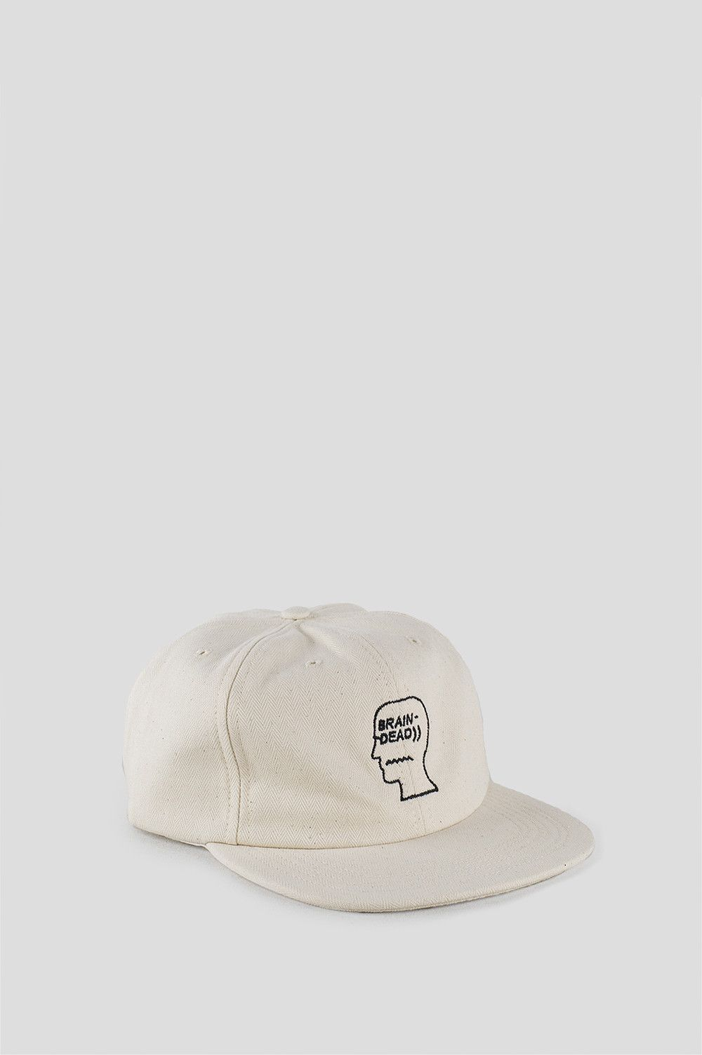 0301a70e21d BRAIN DEAD HERRINGBONE LOGO HAT NATURAL