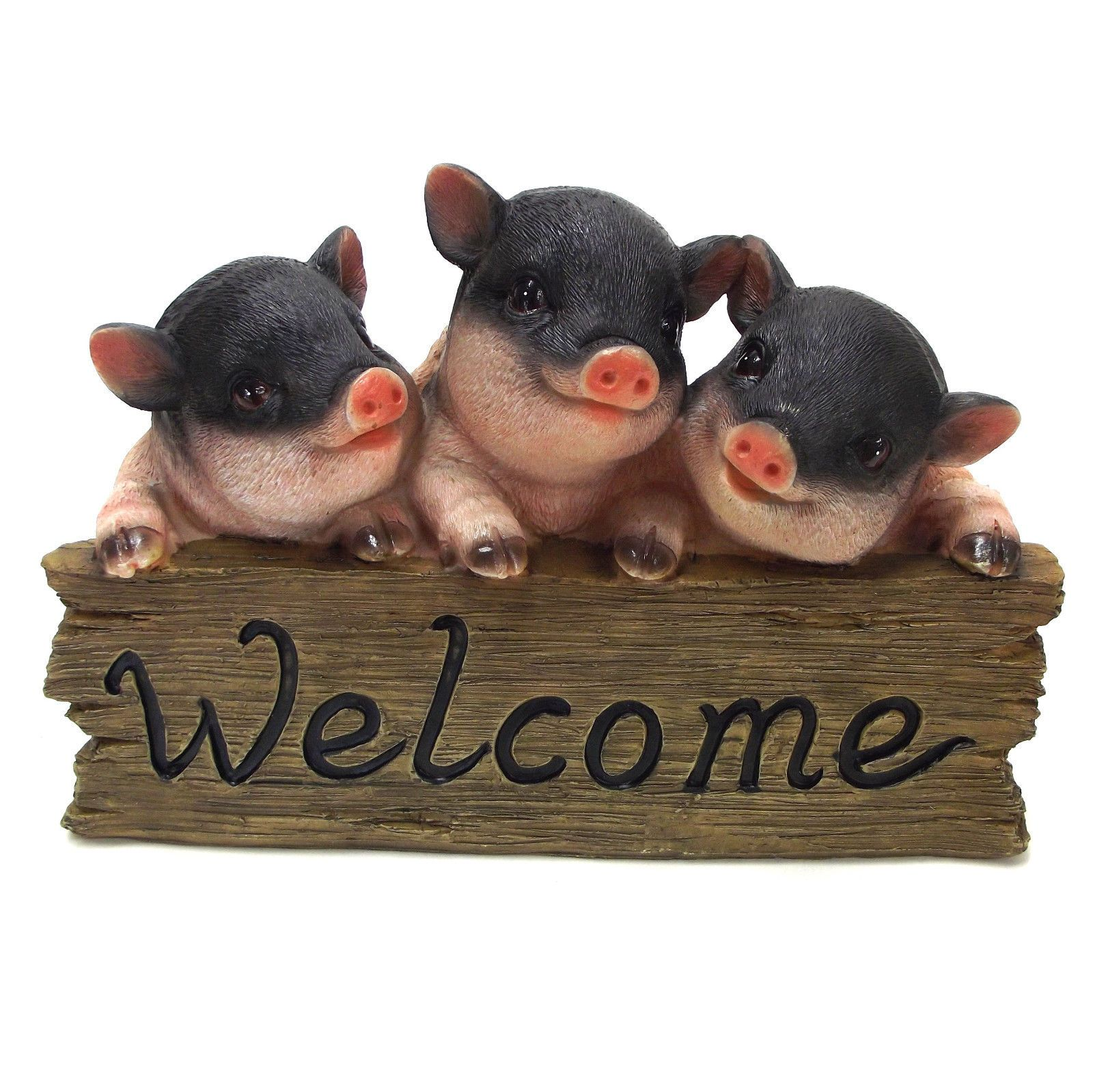 Pig Welcome Sign Ornament Piglet Statue Garden Sculpture 25cm Black 2027 |  EBay