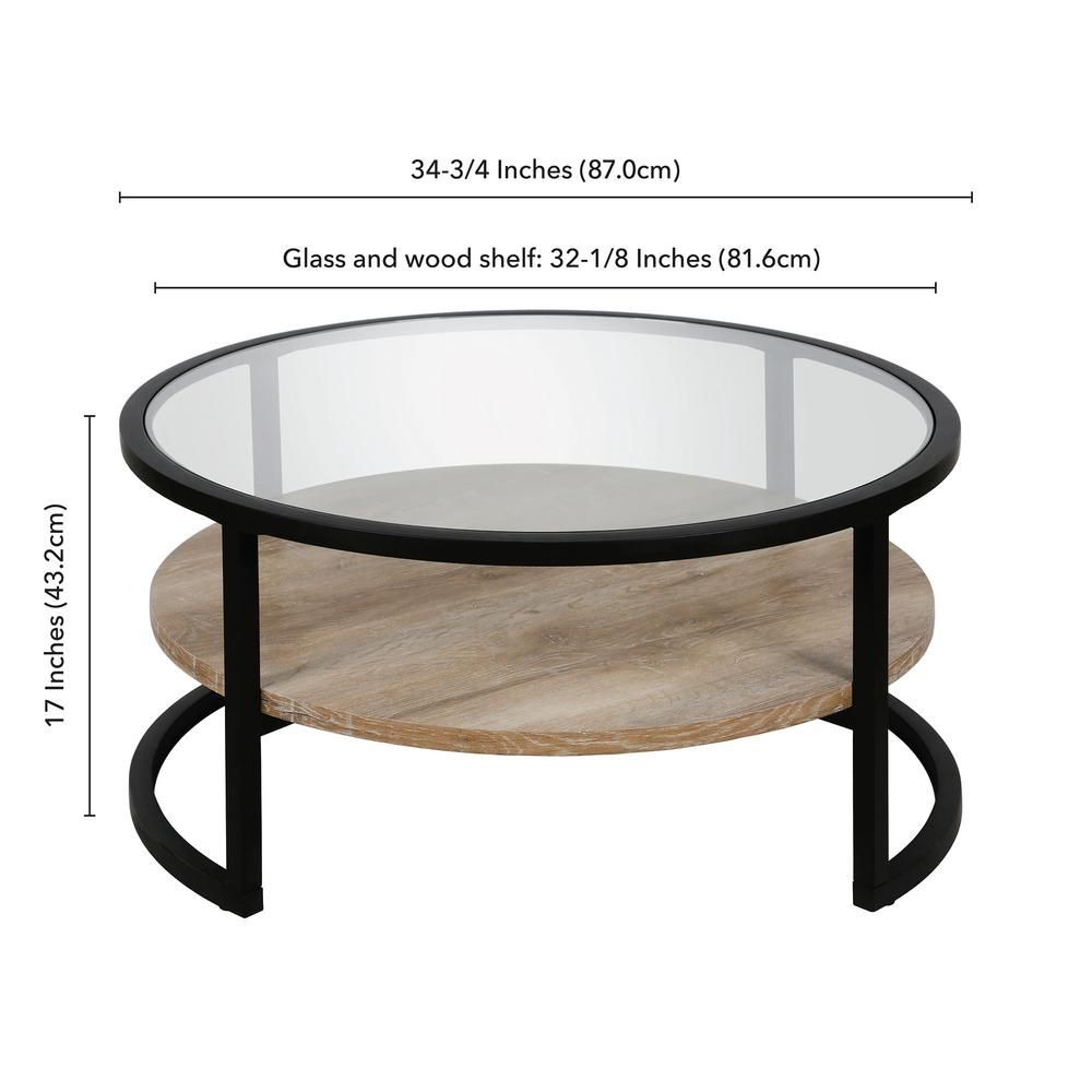 Meyer Cross Winston 35 In Clear Black Bronze Medium Round Glass Coffee Table With Shelf Ct0224 The Home Depot Round Metal Coffee Table Tempered Glass Table Top Glass Top Coffee Table [ 1000 x 1000 Pixel ]