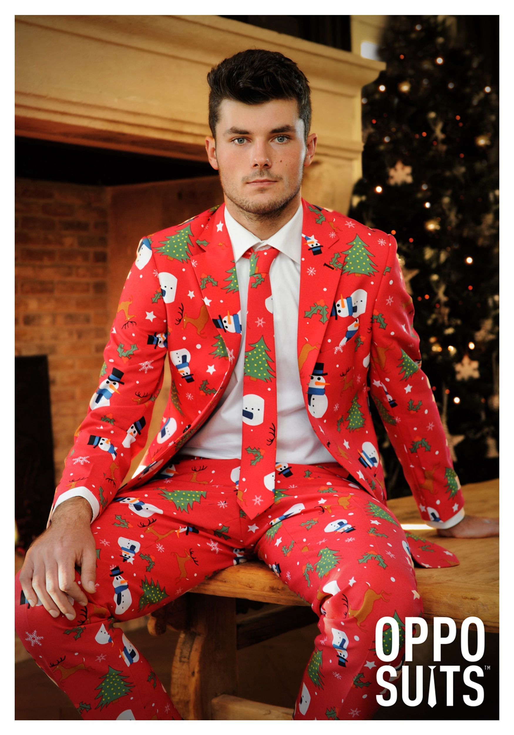santa claus decided to upgrade his suit this mens red christmas suit is great to wear to holiday events - Christmas Suits For Mens