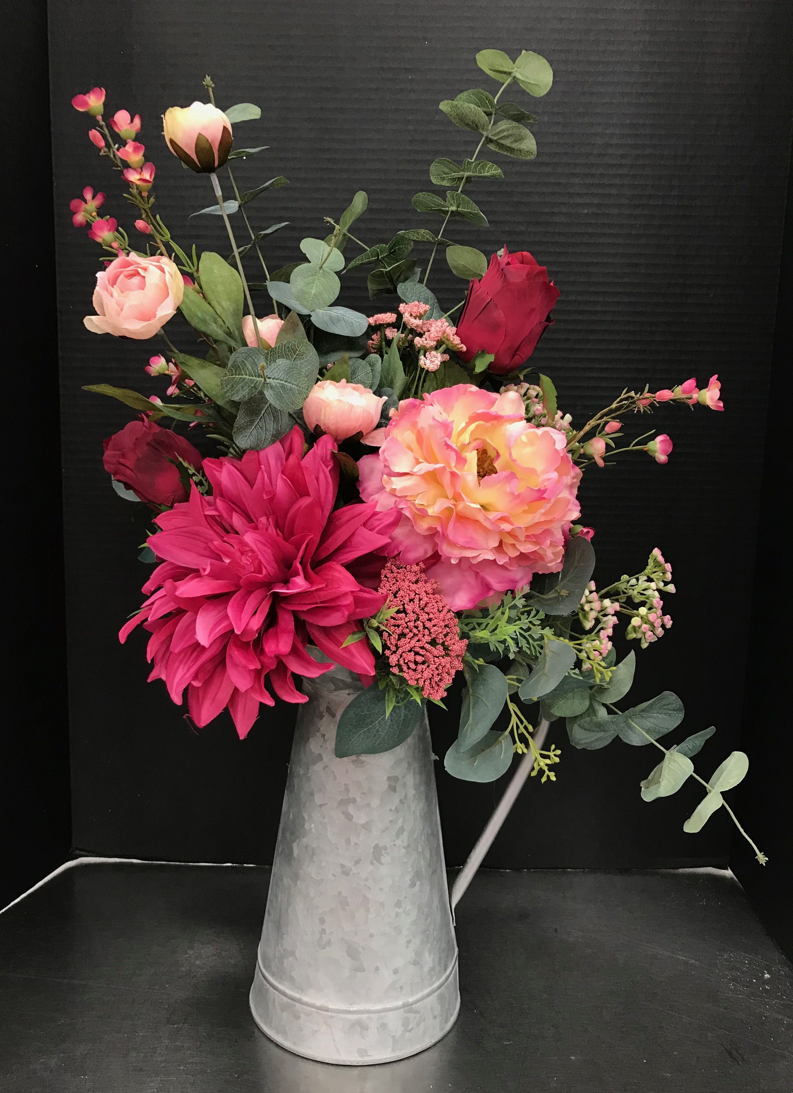 Hot Pinks In Galvanized Pitcher By Andrea Michaels Custom Floral