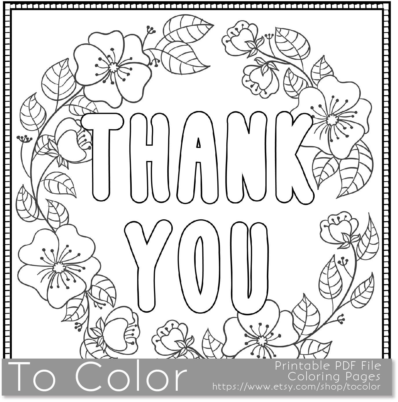 Thank You\' Coloring Page For Grown Ups - this is a printable PDF ...