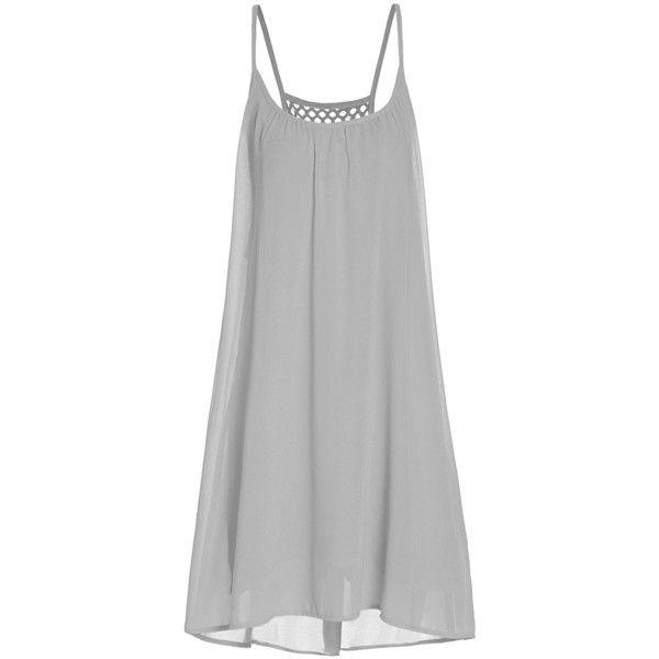 62ec87e41c ROMWE Women s Spaghetti Strap Sundress Hollow Out Summer Chiffon Beach...  ( 9.99) ❤ liked on Polyvore featuring dresses