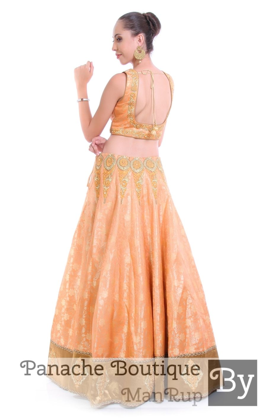 8748bc7333 Peach Colour Lehenga Choli in Brocade fabric by Panache Haute Couture.  Contact us to order or customisation through WhatsApp +61470219564 or mail  to ...