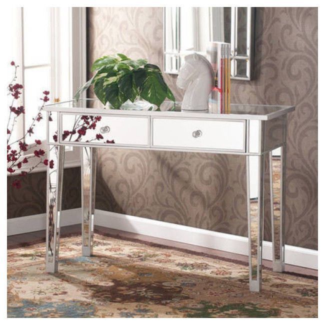 Contemporary Mirrored Console Table Glam Vanity Desk  2 Drawers Silver Mirror  #Contemporary
