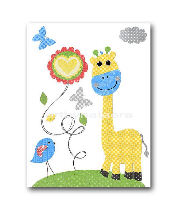 Conjunto jirafa elefante vivero arte niños sala por artbynataera