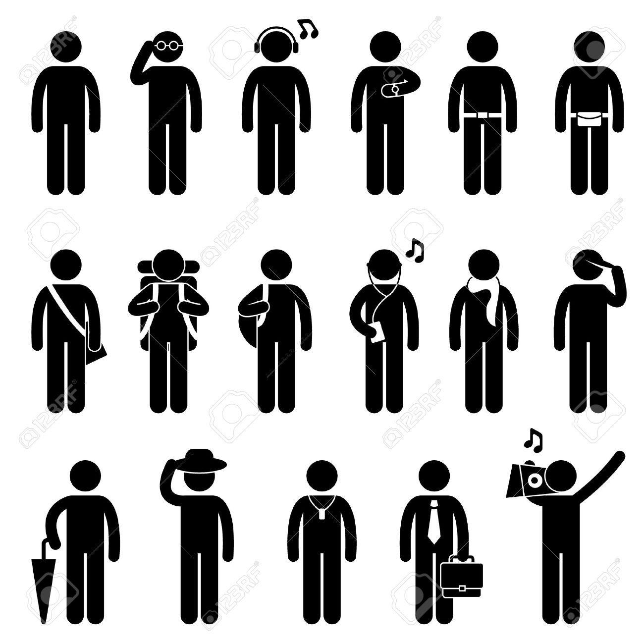 Stock Vector Pictogram, Stick figures, Person icon