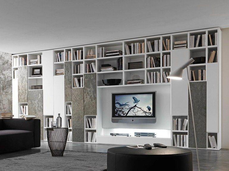 Ensemble mural composable laquée avec support tv COMP 332 - Presotto ...