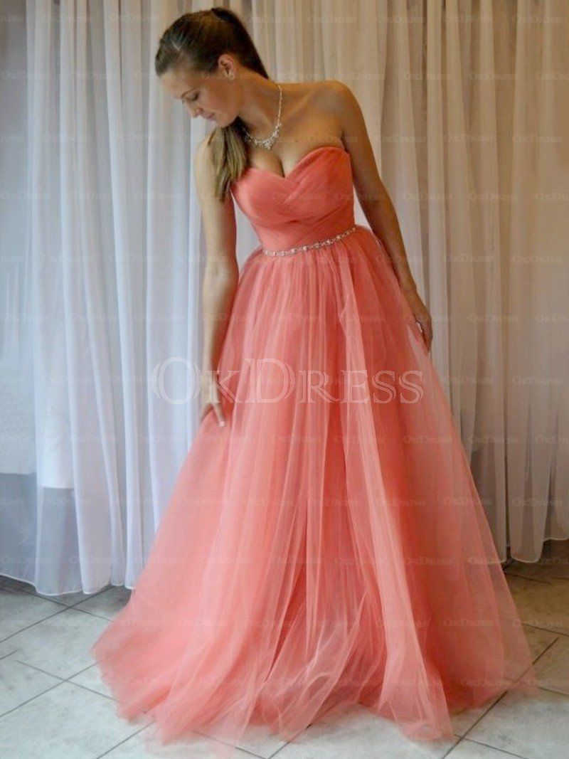 Vogue Beading Sweetheart Natural Princess Floor-length Prom Dresses ...