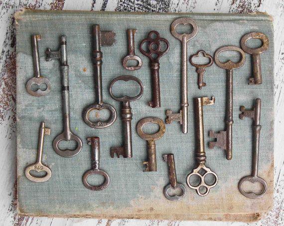 Key Wall Art vintage key collection, skeleton key photograph, antique keys