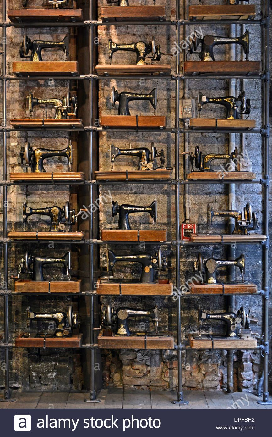 A Display Of Vintage Singer Sewing Machines At All Saints, A Clothing Store  On Broadway