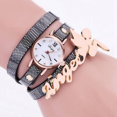 37af3c801e410 Wrap Strap Wristwatch for Woman Girl Long Black BandFAngel Fashion Watch   Unbranded  DressFormal