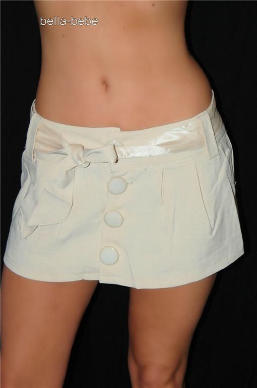Sexy Beige Button Low Rise 10 In Micro Mini Skirt New Super Short