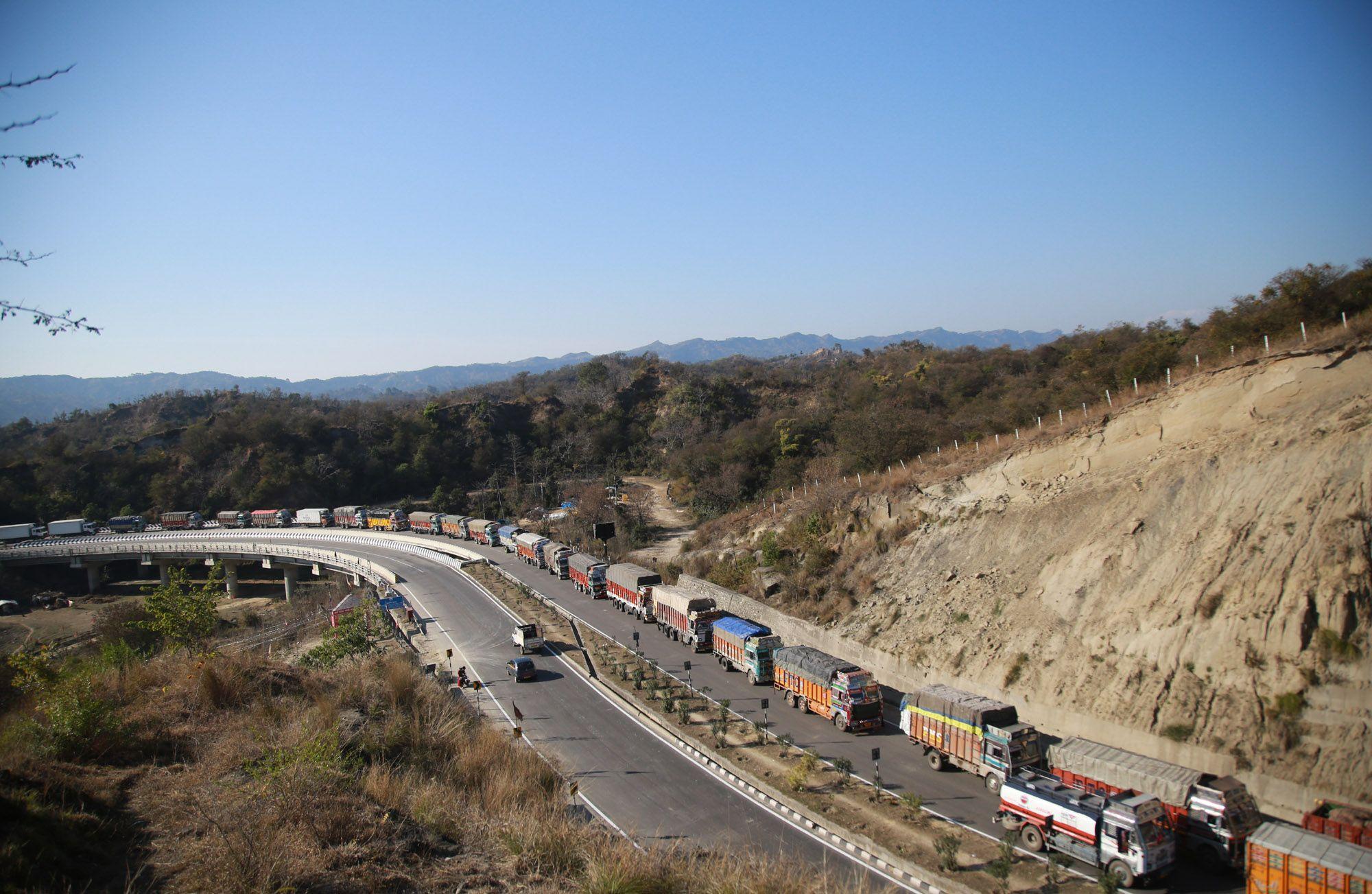 Stranded Trucks Wait For The Opening Of The Jammu Srinagar